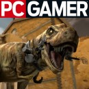 A vicious T-Rex and the PC Gamer logo!